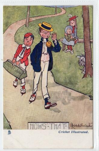 """HOWS THAT"" Cricket Illustrated comic postcard C31494"
