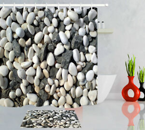 Rustic Gravel Pebble Rock Waterproof Fabric Shower Curtain Set Bathroom 12 Hooks