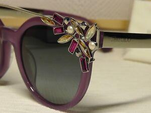 396ecd939dcf Jimmy Choo Vivy S Violet  Silver tone Crystal Browbar Frame ...