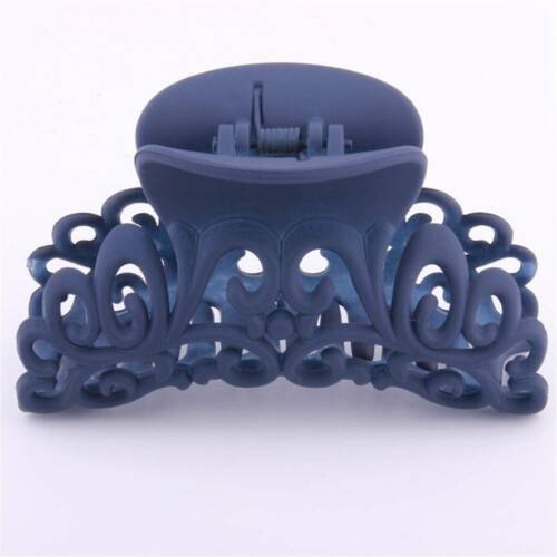 Women Plastic Scrub Black Hair Claw Clip Hollow Out Carving Crab Large HairClamp
