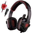Sades SA-901 USB HiFi 7.1 Surround Pro Gaming Headphone Headset Headband Mic Red