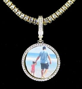 Icy-Custom-Photo-Pendant-Medallion-14k-Gold-Plated-Necklace-Hip-Hop-Jewelry