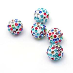 Taupe Polymer Clay Disco Ball Beads 12mm 10 Pcs Rhinestone Art Hobby Jewellery