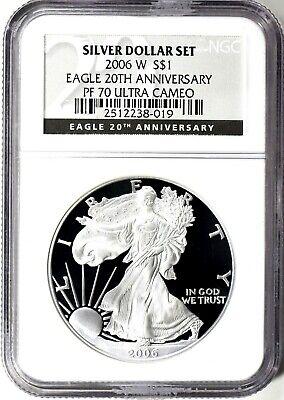 2006-W Silver American Eagle 20th Anniversary Set Label $1 NGC PF70 Ultra Cameo