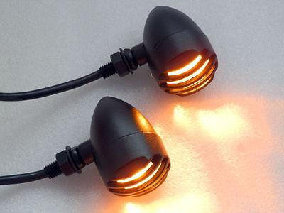 Black Grill Bullet TURN SIGNAL AMBER LIGHT for Harley Sporster Softail Bobber