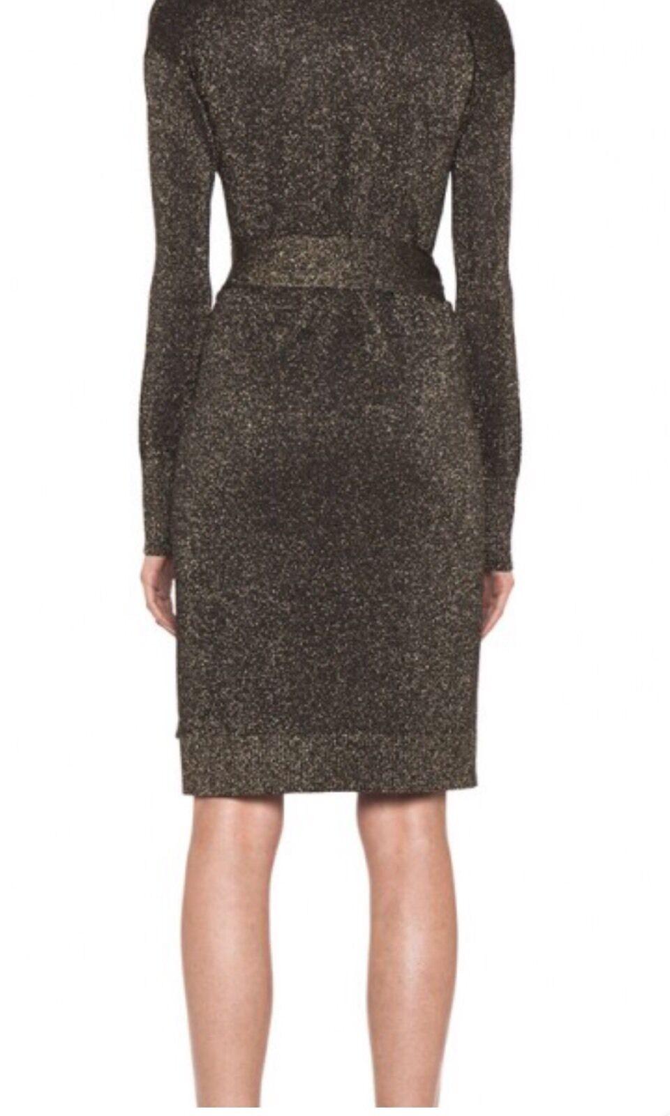 Diane Von FURSTENBERG Fosette Fosette Fosette Metallic Wrap Dress, Size M , 465 RP e6dedd