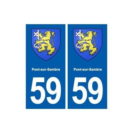59 Pont-sur-Sambre blason autocollant plaque stickers ville droits