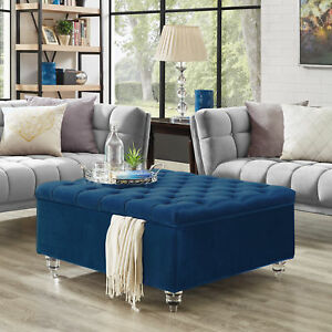 Details About Velvet Oversized Storage Ottoman Coffee Table On Tufted Tail Square