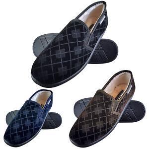 DUNLOP-Uomo-Invernali-Calde-Memory-Foam-Pantofole-con-Quadri-senza-Retro