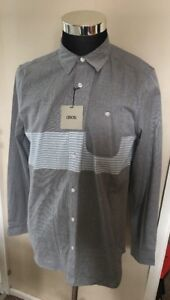 BNWT-Asos-LS-Grey-Striped-Shirt-Top-Button-Up-Large-L-40-42