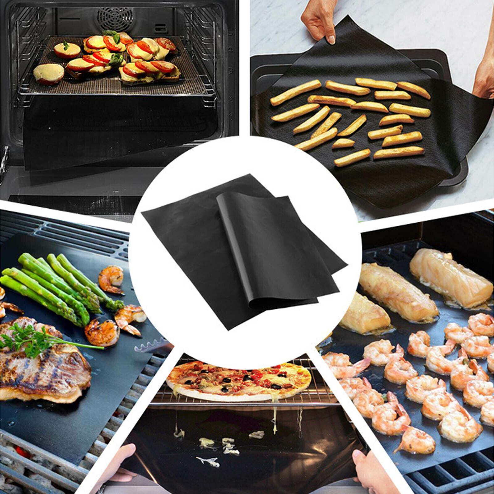 3X Heavy Duty OVEN LINER Sheet Mat Non Stick Reusable BBQ Cooker UK