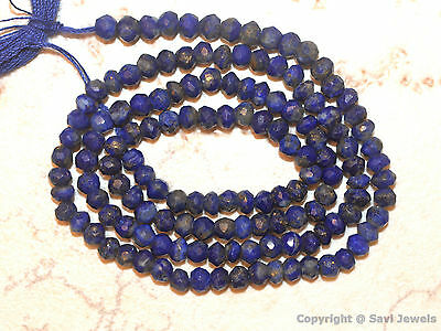 "Natural LAPIS Lazuli 3-3.5mm Faceted Rondelle Loose Gemstone Beads 13.5"" Str"