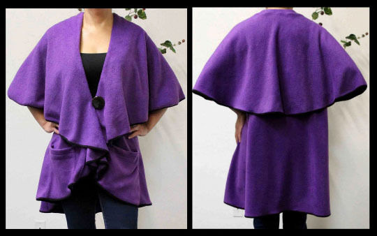 Designer Warm Cozy Poncho, Travel Cape in Polar Fleece in Plus Größe and regular