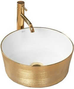 Aufsatzbecken Waschbecken Waschschale Becken SOFIA oval Waschtisch gold