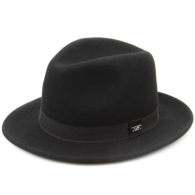 8cf696feb96 Fedora Hat Trilby Black Hawkins Cap Wool Felt Ladies Men Band Brim ...