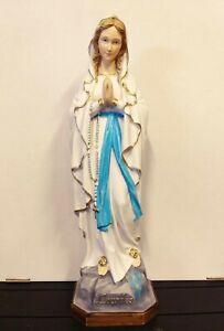 Statue Madonna von Lourdes CM 60 Neon IN Marmor Harz Italienisch