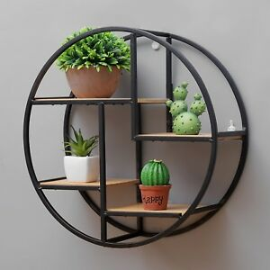 Image Is Loading Wall Shelf Wood Metal Circle Modern Plants Books