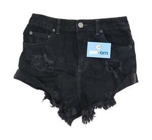 Womens-Asos-Black-Denim-Shorts-Size-10-L2