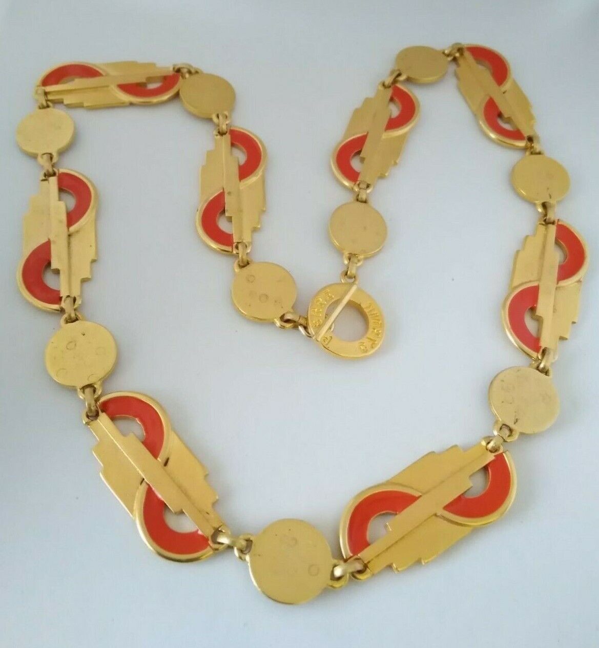 Ancient Necklace Vintage Years 70/80, NECKLACE Metal Enamel and Gold Color-show original title