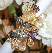 NOS Seta Blue Butterfly Crystal Long Gold Plated Ring Sz 8 1/4 Fairytale Bling
