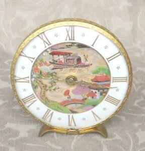 ANTIQUE FORTUNA HAND PAINTED JAPANESE ORIENTAL SCENES MECHANICAL DESK CLOCK