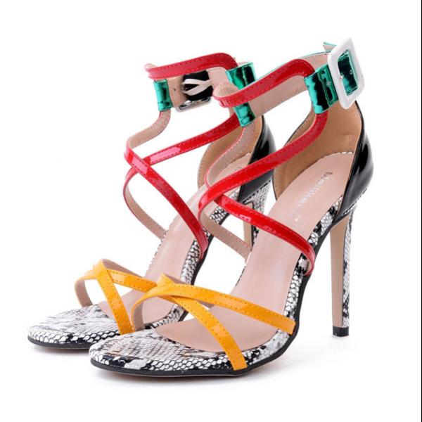 sandali donna 11 cm eleganti stiletto colorati moda fashion simil pelle CW624