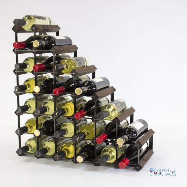Cranville Wine Rack Storage 27 Bottle Dark Oak Stain Wood/black Metal  Assembled