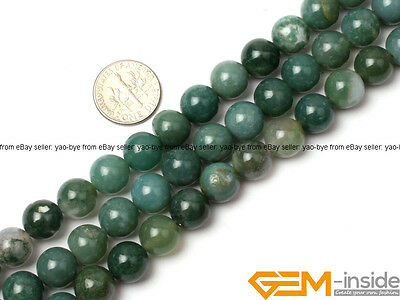Natural Smooth  Moss Agate beads Jewelry Making loose gemstone beads strand 15""