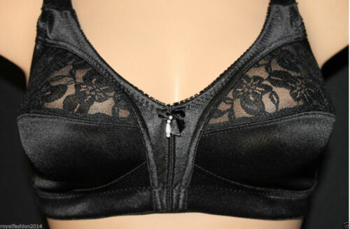 Women/'s Ladies Girls Satin Lace Bra Non Padded Non Wire Soft Cup Comfortable Bra