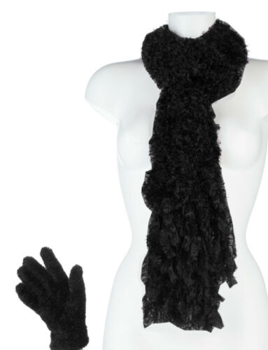 Ladies Winter Warm Luxury Feather Cosy Soft Scarf /& Gloves Set Gift Present
