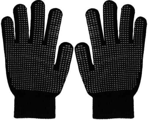 Childrens Kids Boys Girls Plain Black Magic Rubber Gripper Winter Warm Gloves