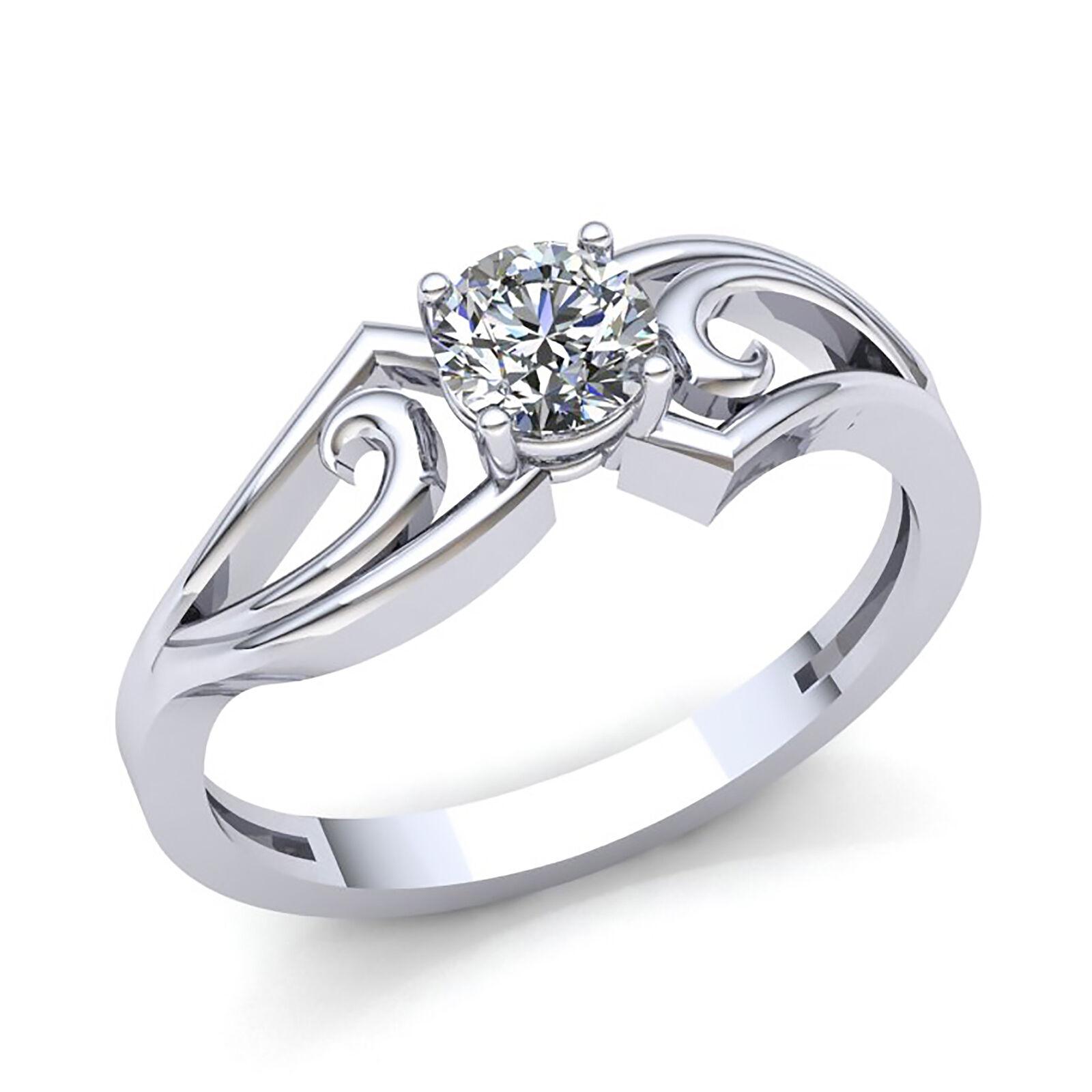 Genuine 1 4ctw Round Cut Diamond Women's Solitaire Engagement Ring 18K gold