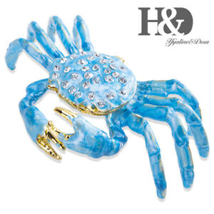 H-amp-D-Sea-Blue-Crab-Jewelry-Trinket-Box-Bejeweled-Treasures-Decorative-Collectible