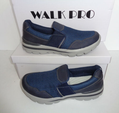 Mens Memory Foam Trainers Walk Pro Navy Slip On Shoes New Sizes 7 8 9 10 11 12