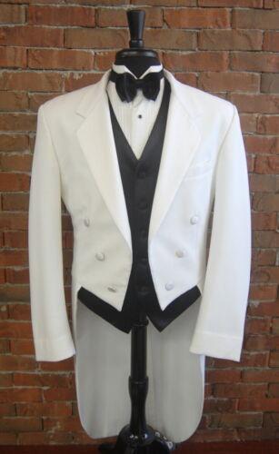 Masculino tamanho 40 R Branco Clássico Entalhe caudas Smoking Jaqueta Cauda Completa Vestido