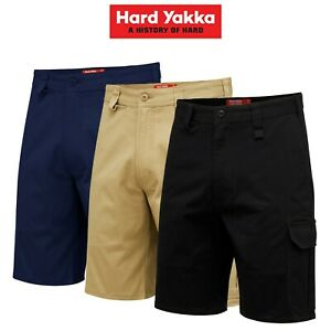 Mens-Hard-Yakka-Core-Work-Aussie-Tough-Stretch-Cargo-Shorts-Cotton-Drill-Y05067