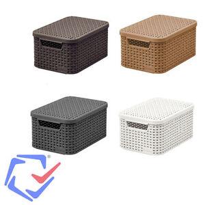 curver rattan basket with lid s size natural fibre look plastic storage boxes ebay. Black Bedroom Furniture Sets. Home Design Ideas