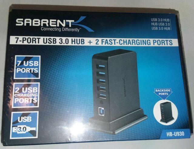 7 Port USB 3.0 HUB + 2 Charging Ports with 12V/4A Power Adapter [Black] Sabrent