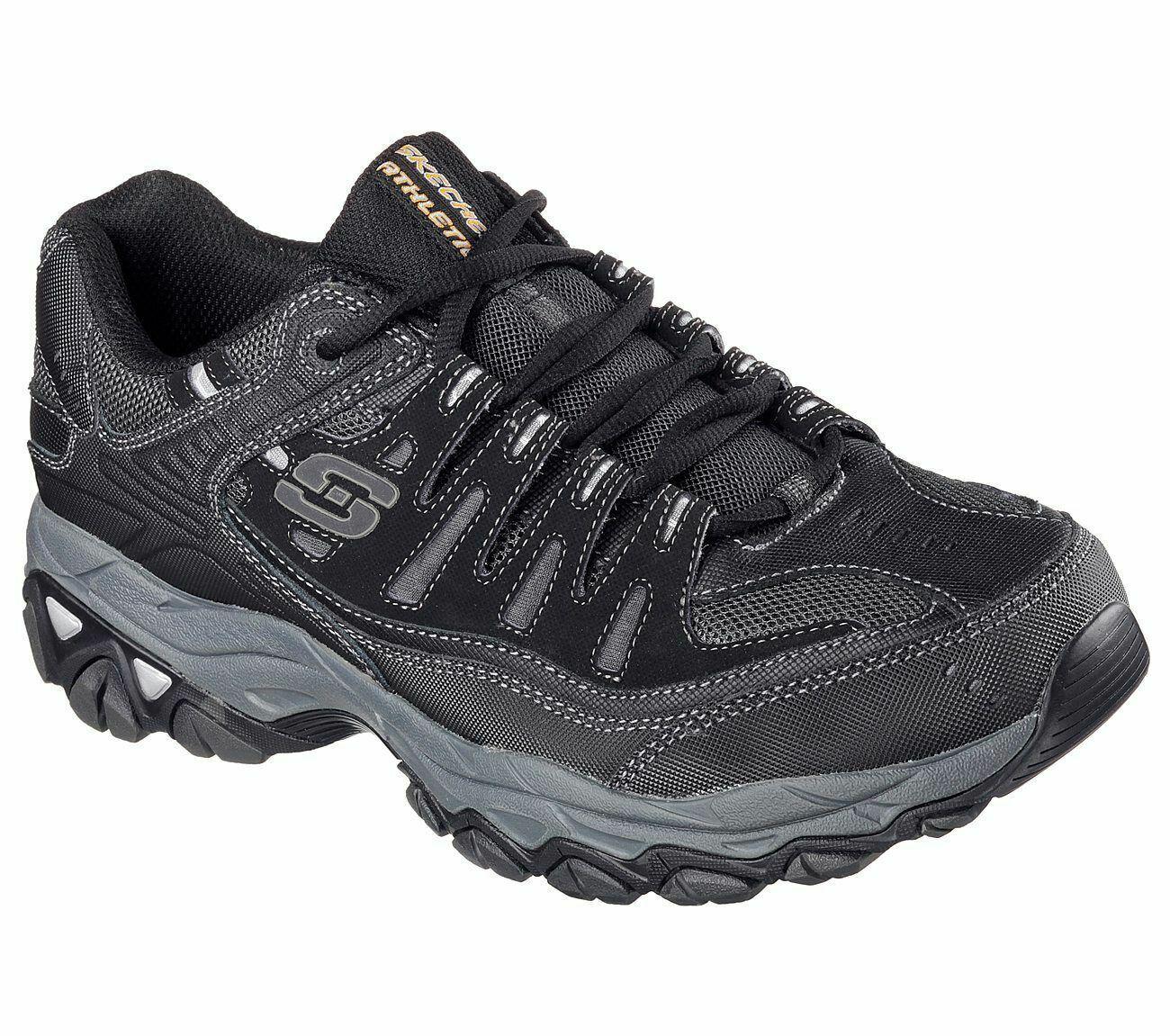 Black Skechers shoes EWW 50125 4E Wide Width Big & Tall Men Memory Foam Leather