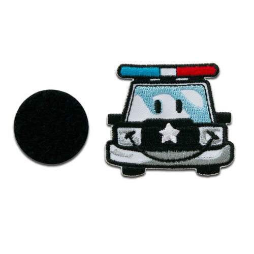 Bügelbild // Aufbügler Smiley Polizeiauto Klett Patches Aufnäher Smiley ©
