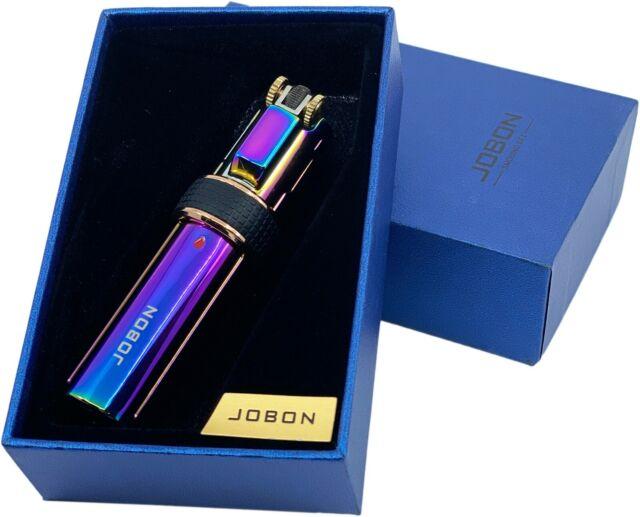 Jobon 3 Flame Jet Windproof Cigar Flick Wheel Torch Refillable Lighter Rainbow