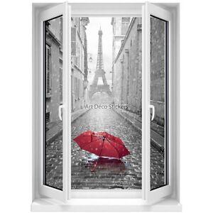 Sticker Mural Fenêtre Trompe Loeil Parapluie Rouge Paris Noir Et