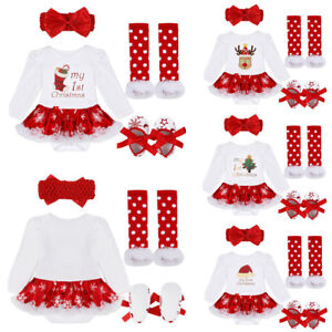0fc80ac6e5db My First Christmas Baby Girls Dress Outfits Xmas Romper Tutu Skirt ...