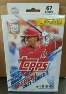 2021 Topps Baseball Series 1 Hanger Box - Factory Sealed - 2 Blue Parallel Cards