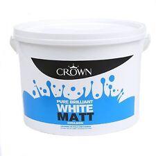 Pure Brilliant White Paint - Crown Matt Emulsion - Wall & Ceiling -7.5 Litres