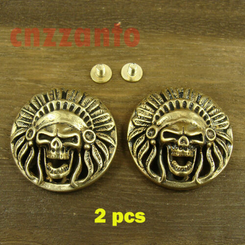 2pcs Solid Brass Leather craft Skull rivet stud Punk screw back Conchos decor