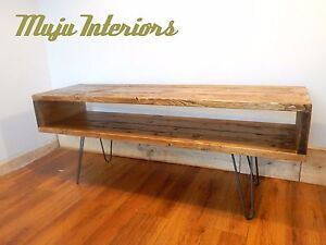 scaffold planks boards vintage tv stand unit reclaimed solid wood hairpin legs ebay. Black Bedroom Furniture Sets. Home Design Ideas