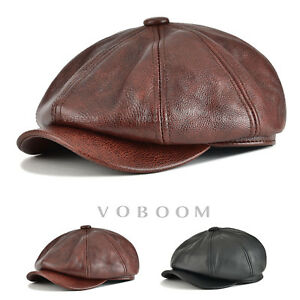 c12119473a390f 100% Genuine Leather Newsboy Cap Mens Ivy Hat Golf Driving Ascot ...