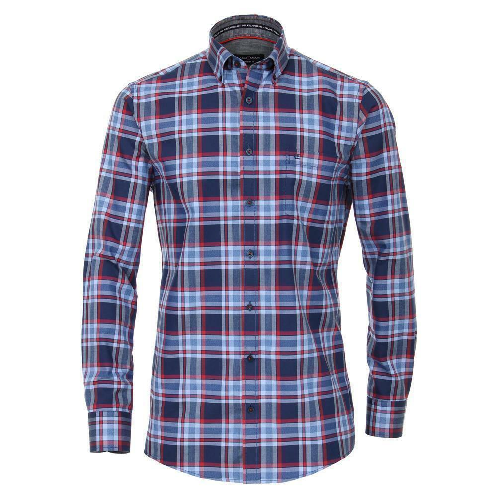 Casa Rot Fit Comfort Down Button kariert Blau in Hemd Herren
