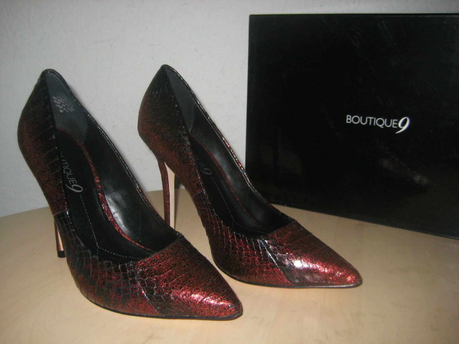 Boutique 9 Shoes Size 6 M Womens New Justine Dark Red Black Leather Pumps Heels